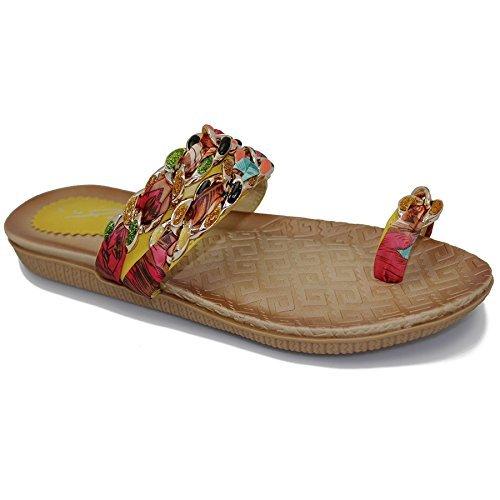Fantasia Boutique - Sandales Confortables Avec Des Sangles Et Des Orteils Avec Boucle, Multicolore Multicolore