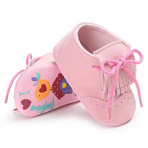 Clode® Säuglings Baby Mädchen Jungen Troddel Krippe Schuhe weiche alleinige Anti Rutsch Turnschuh Segeltuch Rosa