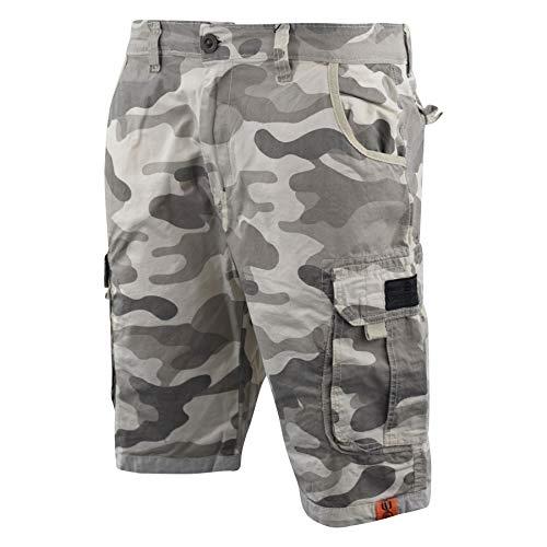 CrossHatch Mens Chinos Camo Cargo Shorts Jeans Combat 3/4 Knee Length Watchford(W32,Stone Camo) (Short Camo Stone Cargo)