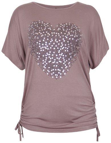 Lange Ärmel Plus Größe T-shirt (Damen T-Shirt Herz Aufdruck Pailletten Stretch Kurze Fledermaus Ärmel Rundhals Ausschnitt Gebundenes T-Shirt Top Plus Größen - 48-50, Mokka)