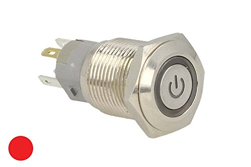 CARALL Interruptor basculante Redondo de 5Pines Acero Inoxidable con indicador LED Rojo...