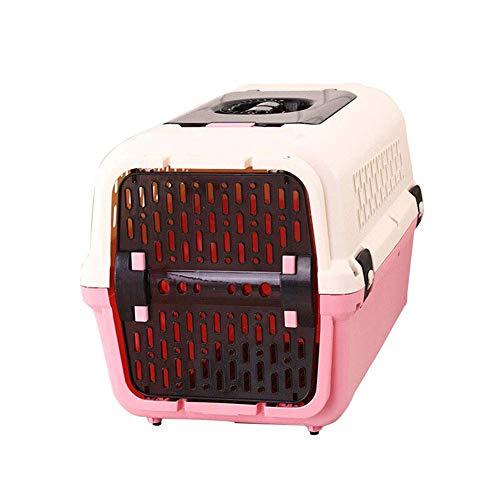 WTY Pet Rucksäcke Pet Air Box, Hundekatze Box mit Oberlicht-Urinabscheider Atmungsaktive Belüftung Leicht zu reinigende Luft Transport Abgehender Transportkäfig,Pink,L