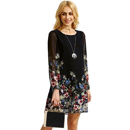 Rcool Frauen-Mehrfarbenblumen-runder Ansatz-Kleid-langes Hülsen-Blumen gedrucktes Chiffon- Kleid Schwarz