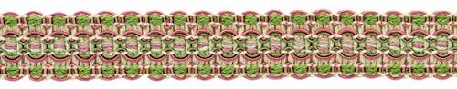 DecoPro Lavish Kaktusblüte, 25 mm breit, Hellrose, Rose, Kasha, Minzparfait, Avocado-Gimp Zopfbesatz, Stil: 0100VG, Farbe: Wildblume - VNT6 pro Yard = 91 cm -