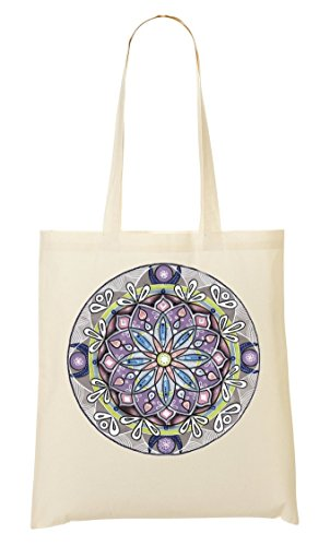 ToteWorld Pastel Mandala Spiritual Collection Hand-Made Drawing Yoga Pilates Original Om Bolso De Mano Bolsa De La Compra