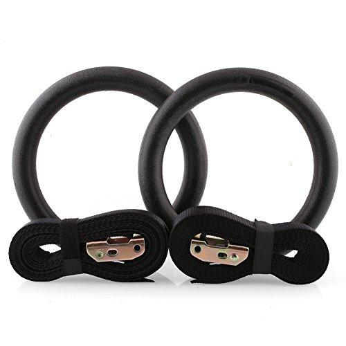 Amzdeal Anillas de gimnasia Un par de anillas deportivas con las cintas Carga máxima 400kg Color negro