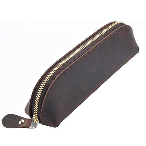 Fyore lusso astuccio vera pelle piccolo sacchetta design cerniera in metallo per scuola università adulti (caffè)