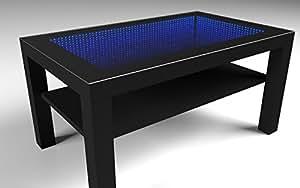 Infinity mirror table miroir infini bandeau led rgb noir for Miroir infini