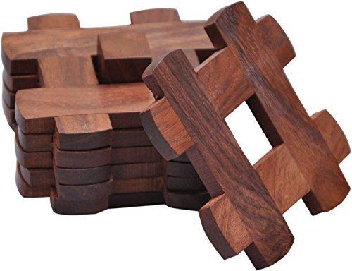 hashcart Untersetzer in Sheesham Holz/Palisander für servieren mit Ständer (Set von 6+ 1Ständer)