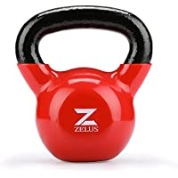 ZELUS Cast Iron Vinyl Coated Kettlebell for Women/Men Workout