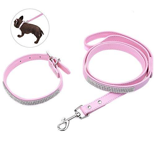 Petacc Luxus Haustier Leder Halsband und Leine Set | Hundeleine | Katzenhalsband , Geeignet für kleine Hunde und Katzen, Einstellbar, Langlebig ,Pink (Luxus-leder-hundehalsbänder)