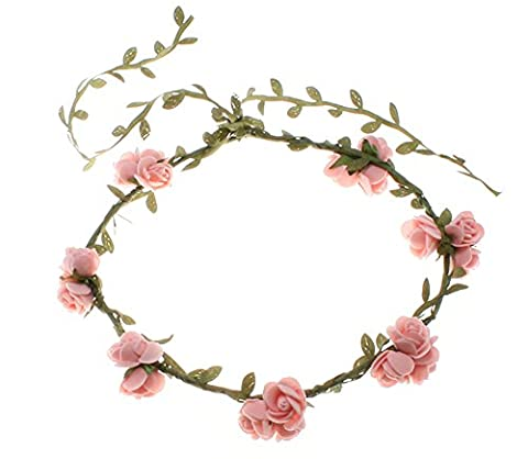 Lalang Colorful Flower Garland Costumes Outfits Accessory Beach Hair Decor Hair Headband for Festivals Weddings Holiday (peach