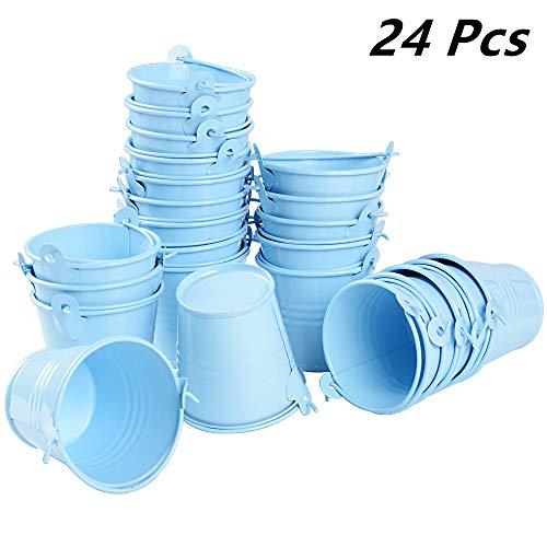24pcs Mini Cubos Metal Cajas Invitados de Boda Fiesta Bautizo Cumpleaños Candy Bar Detalles Dulces Caramelos Regalos Arroz Decoración Mesas 5,5 x 5,2 x 4cm Azul