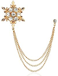 Panjatan Men's Stone Studded Snow Flake Design with Golden Chain Pin Brooch by WI Retail