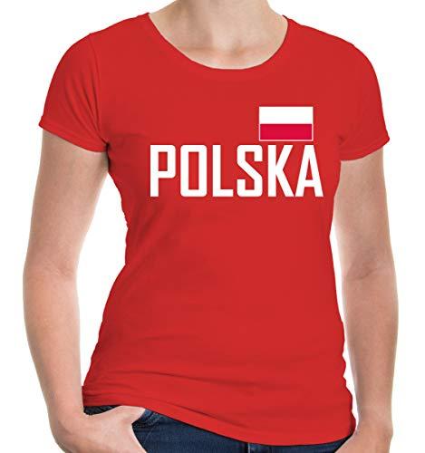 buXsbaum Damen Girlie T-Shirt Polen | Polska Poland Pologne Europa Ländershirt Fanshirt Flagge Trikot Reise | L, Rot