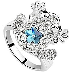 AnazoZ Anillo Plata Compromiso Anillo Flor Anillo Rana Circonita Blanco Océano Azul Anillo de Mujer Tamaño del Anillo 17
