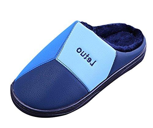 Icegrey Unisex Chaussons Pantoufles D'Intérieur Confortable Mousse Légère Doublure en Peluche Lavable Coton Chaud Maison Bleu Profond