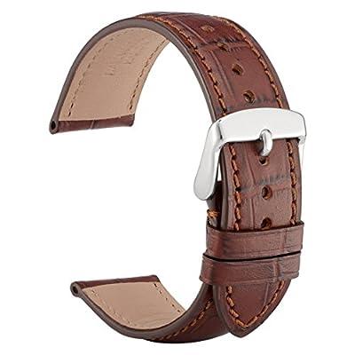 wocci piel reloj banda correa de cocodrilo en relieve de reloj de pulsera con hebilla de plata en clavijas y quitar herramientas