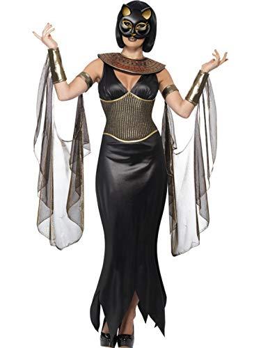 Luxuspiraten - Damen Frauen ägyptische Katzengöttin Bastet Kostüm mit Kleid, Kragen, drapierten Ärmel und Maske, perfekt für Karneval, Fasching und Fastnacht, L, Schwarz