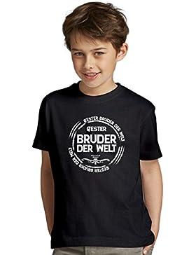 Bester Bruder der Welt : Kinder Jungen T-Shirt und Urkunde : Geschenk-Set Farbe: schwarz