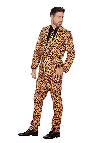 shoperama Herren-Anzug Jaguar Muster mit Krawatte Sakko Jackett Hose Karneval Fasching Party JAG Cool, Größe:48 (Leopard Hose Kostüm)