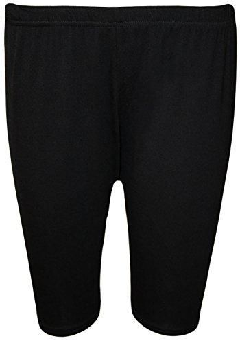 WearAll - Damen Übergröße Einfarbig Elastisch Radlerhose - Schwarz - 52 bis 54 (Damen-kurzhaarschnitt)