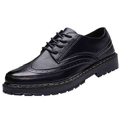 iHENGH Scarpa Ginnastica Moda Casual Estate Francesina Pantofola Vintage Rete Shoes Men Outdoor Running Sport Scarpe Uomo Ragazzo Lace-Up Breathable Sneakers Respirante Pu(Nero,40)