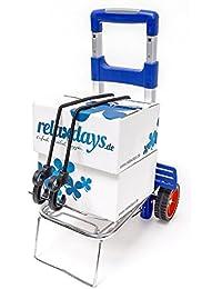 Relaxdays Transport Trolley und Sackkarre bis 30 kg Einkaufstrolley mit ergonomischem Griff als Transportwagen faltbarer Gepäckwagen mit Teleskop-Gestänge Transportroller aus Aluminium klappbar, blau