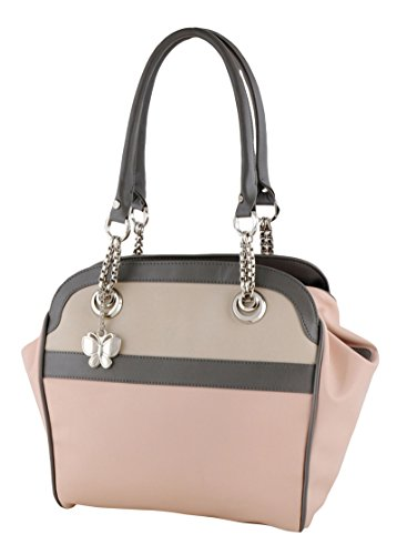 Butterflies Kunstleder Lässig Tote Frauen-Schultertasche Handtasche Hell-Pink