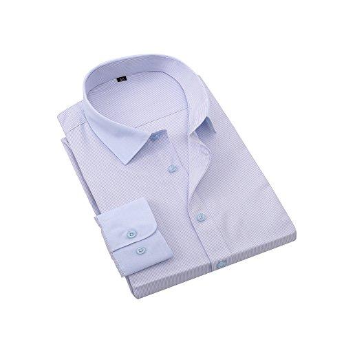 Bmeigo Uomo Slim Fit Stripe manica lunga Spread Collar Camicie classiche -H18 Blue