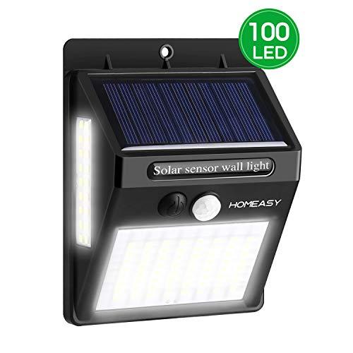homeasy Solarwandleuchten Außen mit Bewegungsmelder 100LED Solarleuchten für Außen mit Seitlichen Leuchten IP65 Wasserdichte Outdoor Solar Light mit 3 Modi für Garten Balkon