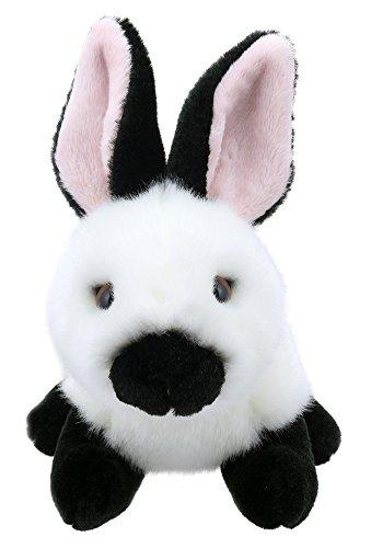 Lashuma Plüschtier Hase schwarz - weiß | Kuscheltier Häschen | Stofftier sitzend ca. 15 cm