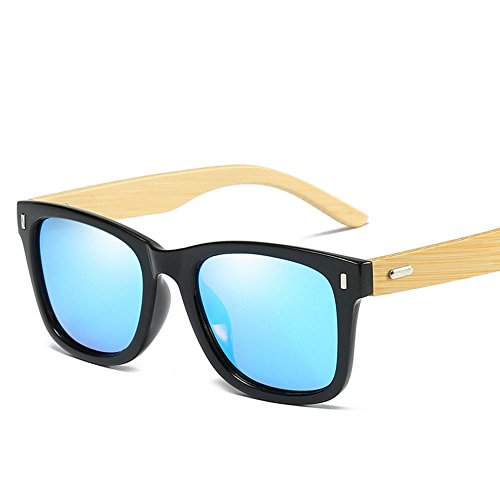 RYRYBH Sonnenbrillen polarisierten Sonnenbrillen Arbeiten Bunte Brille aus Holz Brille Beine Mann und Frau im Freien Sport Sonnenbrille Sonnenbrille (Farbe : Blau, größe : One Size)