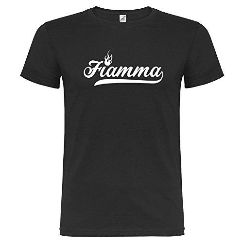 Bikerella T-shirt manica corta Unisex Fiamma by Nero/Bianco