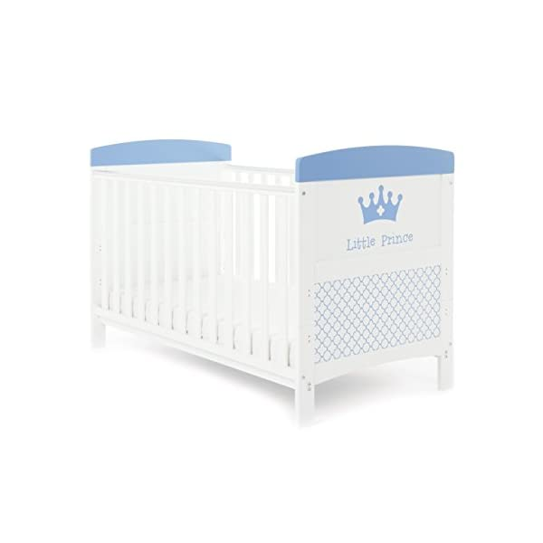 Obaby Grace Inspire Cot Bed, Little Prince Obaby Adjustable 3 position mattress height Bed ends split to transforms into toddler bed Protective teething rails along both side rails 1