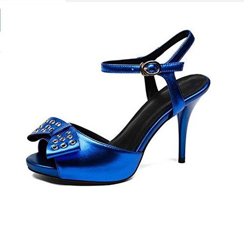 W & Lm Sandales En Cuir Véritable Miss Fish Sandales À Talons Hauts Blue