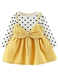 d1fe0376deb5 Girls Dresses, SHOBDW Good Material Newborn Infant Baby Girl Clothes Cute Long  Sleeve Dot Bowknot Print Princess A…