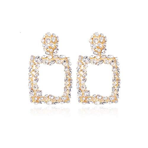 Ouken Geometrische Ohrringe Quadrat-Tropfen-Ohrring-Kristall Geometric Retro Vintage Art Kreative für Frauen (Weiß)
