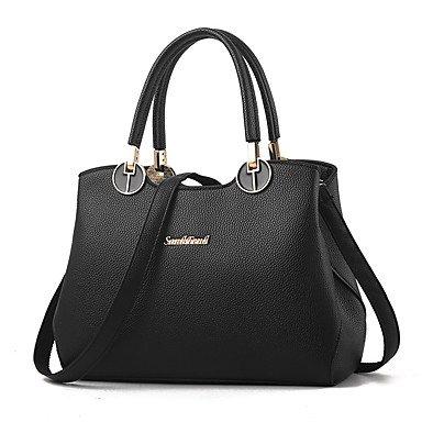 Damenmode Casual PU Leder Messenger Umhängetaschen Handtaschen/Klt Black