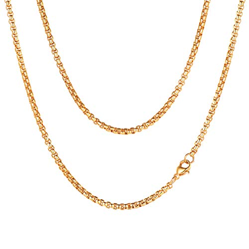 FaithHeart Herren Halskette Panzerkette Edelstahl goldfarben mehrere Längen und Breiten (22in) (- 22-zoll-gold-chain)