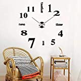 EgBert Große Spiegelwand Uhr 3D Hängende Uhr Klammer Uhr Schwarz-Silber - Schwarz
