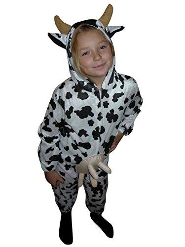 AN32 Größe 122-128 Kuh Kostüm für Kinder, bequem über normale Kleidung zu tragen (Kuh Kostüm Kinder)