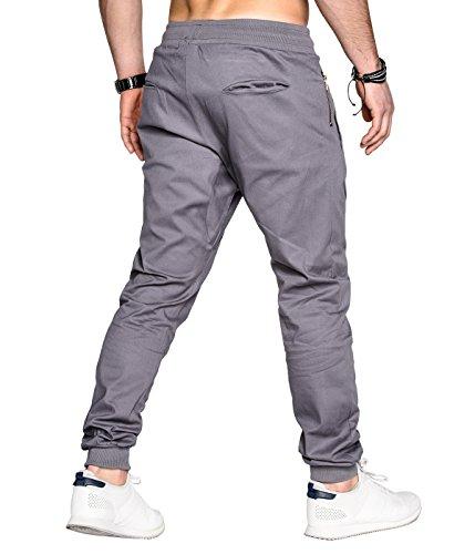 Betterstylz JazonBZ Homme Chino-Jogger Pantalon Chino Èlégant fermeture éclair 4 couleurs (S-XXL) Gris