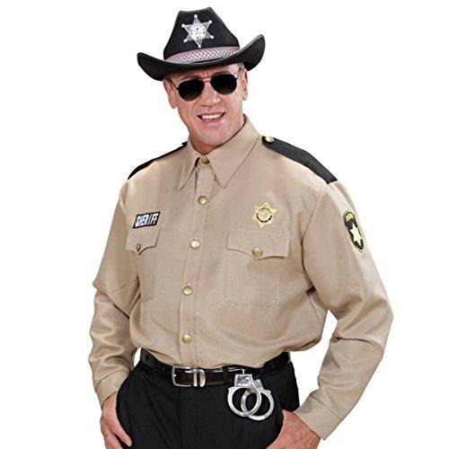NET TOYS Polizei Polizist Hemd Sheriff Kostüm Herren M/L (50/52) USA Polizeiuniform Ranger Herrenhemd