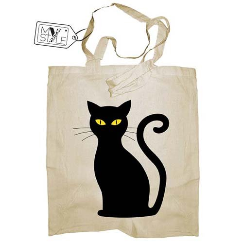 My Custom Style® Shopper aus Naturbaumwolle Farbe beige Modell Halloween - Katze Schwarz Lange Griffe 80 cm; Taschenformat 38 x 42 cm Die Tasche Wird mit Direktdruck vom digitalen Typ hergestellt. Halloween-katze Hat
