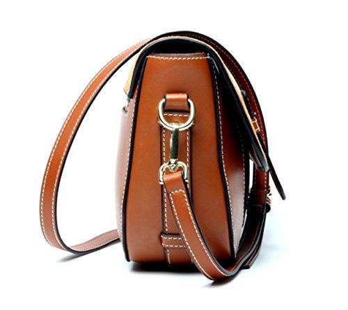 81f15a42171ca ... Echtes Leder Matte Vintage Satteltasche Einzelne Schulter-Umhängetasche  Tasche Für Frauen Caramel ...