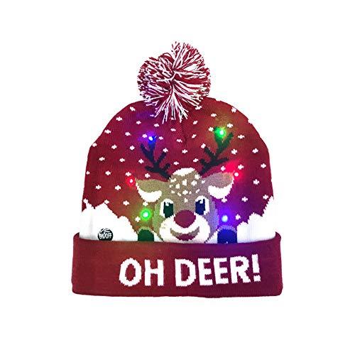 Mibuy Gorro de Navidad Bebe Sombrero Invierno Niña Niño, Sombrero de Navidad Unisex Dibujos Animados Grueso Calentar Protector de Orejas Sombrero Gorro navideño de Reno (Ciervo navidad,20 * 21CM)