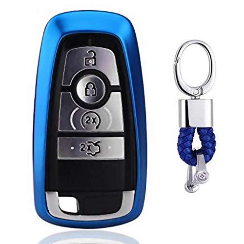 Blau Car Keyless Entry Key Cover Fall für 2017 Ford Fusion F250 F350 F450 F550 2018 Edge Explorer 4/5-Buttons, weiches TPU Schutzhülle mit Schlüssel Kette (Ford F450 Zubehör)