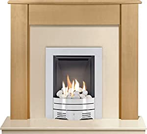 The Capri in Beech & Marfil with Crystal Diamond Contemporary Gas Fire in Brushed Steel, 48 Inch
