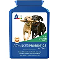 Advanced Probiotics for Dogs - Supplement for Digestive Health and Immunity. Advanced formula with 5 Strains of Bacteria in a Prebiotic Inulin Base, 2 Billion CFUs Per Tablet, Plus Digestive Enzymes